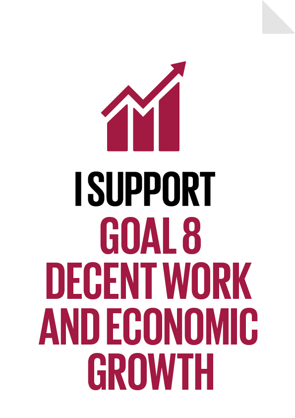I support Goal 8 Decent Work and Economic Growth